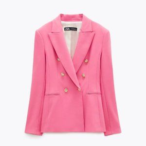 ZARA TAILORED DOUBLE BREASTED PINK BLAZER